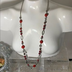 NWT Ruby Rd Silvertone red beaded necklace